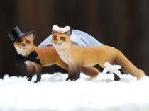 wedding photo - Wedding Cake Topper Fox, Woodland Bride And Groom, Animal Lover, Winter, Top Hat, Veil, Romantic, Unique, Whimsical, Rustic, Cute