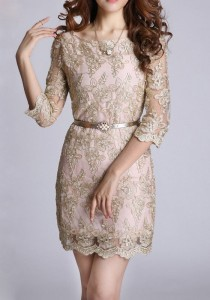 wedding photo - Golden Floral Half Sleeve Wrap Lace Vintage Dress