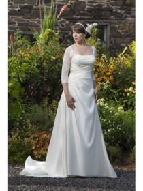 wedding photo - A-ligne Col Carré Manches 3/4 Appliques Tribunal Robe de Mariée