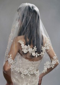 wedding photo - Wedding Veil - Two Tier Veil With Gorgeous FRENCH Lace Appliques Adorned With Swarovski Crystals, Embroidery, And Sequins