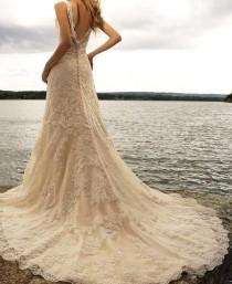 wedding photo - New Lace V Neck Ivory Watteau Bead Sheath Wedding Dress/ Prom Gown