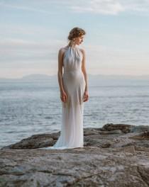 wedding photo - Stunning Backless Wedding Gown, Low Back Dress, Open Back Gown, Boho Bride, White Dress, Halter Dress, Unique Wedding Dress By Elika Designs