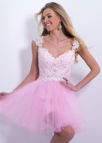 wedding photo - Pink Straps Jeweled Lace Sexy Sheer Back Homecoming Dress