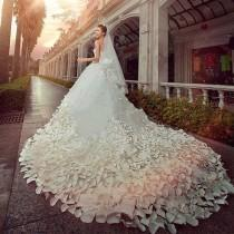 wedding photo - 30 days Redesigned for You Wedding Dress for bride 1000 pieces hand made Flower petal Australia crystal The tail length 260 cm