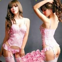 wedding photo - Women Sexy Mermaid Lingerie Set Pink Bridal Lace Belted Corset Top + G-Strings + Stocking