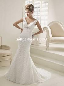 wedding photo - Trumpet/Mermaid V-neck Chapel Train Beading Pearls Sequins Lace Wedding Dress 2014
