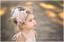 wedding photo - Vintage Deluxe Ivory Cream, Blush Pink And Tan Handmade Rolle Rosette Flower Headband, Feathers, Silk Bow, Pearls, Crystals