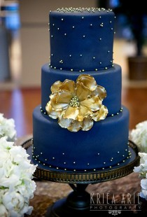 wedding photo - Two-Tier Blue Ombre Wedding Cake - A Watercolor Wedding Cake Inspired By The Ocean