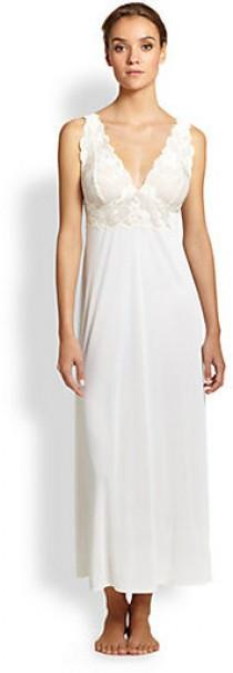wedding photo - Natori Zen Lace Trimmed Long Gown