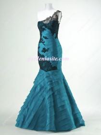 wedding photo - Trumpet/Mermaid One Shoulder Champagne Lace Ruffled Organza Floor-length Dress