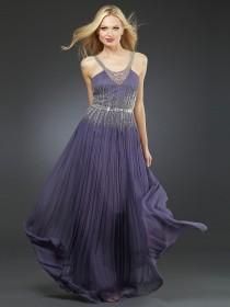 wedding photo -  Fashion V-Neckline Sequined Pleated Chiffon Floor Length Navy Prom Dresses