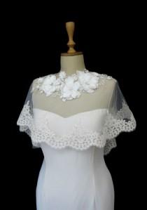 wedding photo - Ivory Lace Bridal Cape Shawl Lace Shrug Wedding Wrap Scalloped Flower Neck Spring Summer Cover up