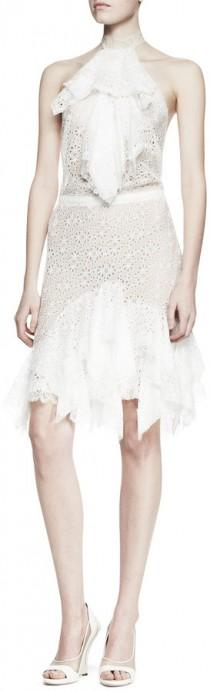 wedding photo - Nina Ricci Ruffled Lace Halter Dress