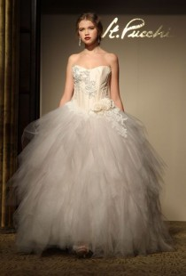 wedding photo - St. Pucchi - Fall 2012 - Strapless Satin And Lace A-Line Wedding Dress With Jacket