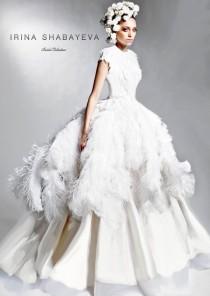 wedding photo - IRINA SHABAYEVA COUTURE Feather Queen Elizabeth Ball Gown Style Dress