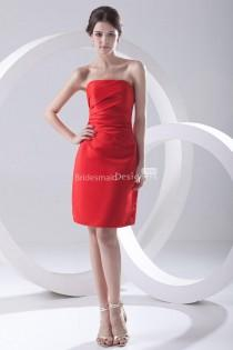 wedding photo - Strapless Corset Side Draped Red Short Cocktail Dress