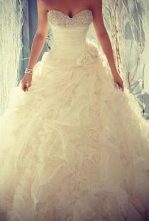 wedding photo - Ball Gown Strapless Beaded Sash Chapel Train Bridal Gowns,Wedding Dresses,Royal Wedding Dresses