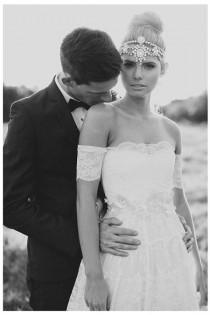 wedding photo - Breathtaking Boho Wedding Dress, Gorgeous Ivory Lace Strapless With Gypsy Arm Bands