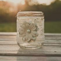 wedding photo - Vintage Lace Wedding Vase, Guest Book Pen Jar, Or Candle. Barn Wedding, Rustic Wedding. Mint