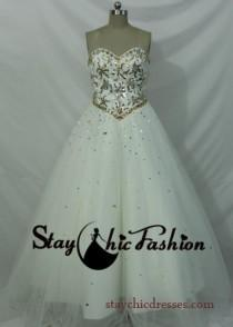 wedding photo - Elegant Ivory White Strapless Beading Top Lace Up Back Quinceanera Ball Gown