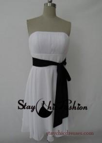wedding photo - White Short Strapless Ruched Top Bridesmaid Dress with Black Waistband