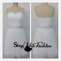 wedding photo - Short White Sequined Waist Ruched Top Strapless Pleated Bridesmaid Dress