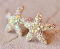 wedding photo - Sparkling Starfish Stud Earrings,Crystal AB Rhinestone Starfish,Ocean,Beach Wedding,Bridal,Nautre,Rhinestone Stud Earrings,Northern Lights