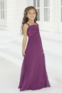 wedding photo - Purple Chiffon Long Flower Girl Dresses