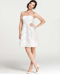 wedding photo - Embroidered Lace Strapless Dress