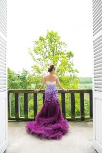 wedding photo - A Purple Ombre And Floral Wedding Dress