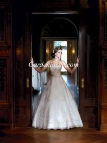 wedding photo - Ball Gown Strapless Court Train Belt Lace And Satin Wedding Dress 2014
