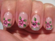 wedding photo - Nail Art: Holographic French With Flower