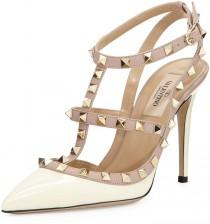 wedding photo - Valentino Rockstud Patent Sandal, Ivory