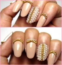 wedding photo - Lady Girl Trendy Cool Gold/Silver Tone Nail Art Tips DIY Decoration Chain