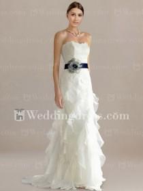 wedding photo - Slim Strapless Destination Wedding Dress With Sash
