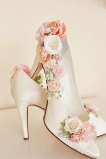 wedding photo - Whimsical Woodland Blush Flower Bridal Shoes, Whimsical Wedding Shoes
