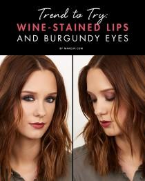 wedding photo - Trend to Try: Wine-Stained Lips and Burgundy Eyes