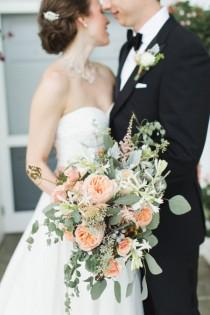 wedding photo - Peach Bouquet With Greenery