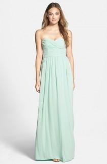 wedding photo - ML Monique Lhuillier Bridesmaids Strapless Ruched Chiffon Sweetheart Gown