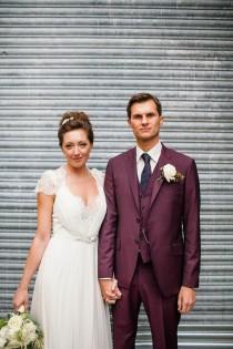 wedding photo - Jenny Packham, Purple And London Love ~ A Modern Vintage Inspired Hackney Wedding