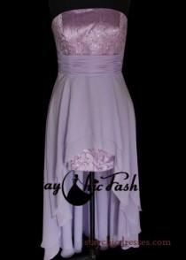 wedding photo - Light Purple Glittering Strapless Layered High Low Dress for Homecoming