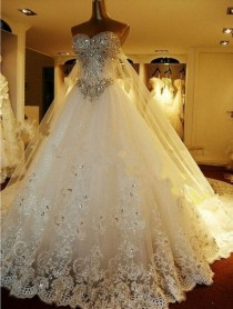 wedding photo - Real Sample Custom Made High Quality Strapless Sweetheart Luxury Crystal Wedding Gown With Long Train/Bridal Dresses