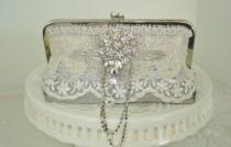 wedding photo - Silver Handbag / Great Gatsby / Silver Wedding / Bridesmaid Gift / Wedding Clutch