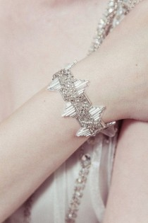 wedding photo - Bridal Cuff - 'Delores' 1920s Wedding Bracelet With Antique Silver Deco Beading