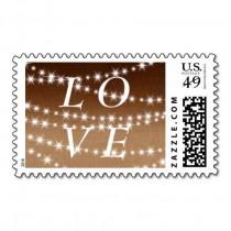 wedding photo - Ombre Burlap Twinkle Lights LOVE Stamp