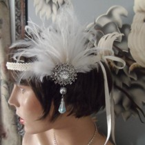 Ox Ivory Feather Roaring 20's Wedding Bridal Hair Accessories Flapper