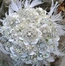 wedding photo - Deposit For An Heirloom Rich Pearl Brooch Bouquet With Ostrich Feathers -- Made-to-order Bridal Bouquet