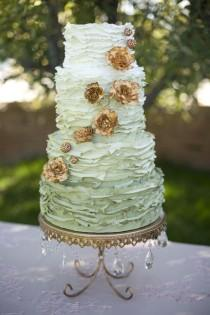 wedding photo - Green-Ombre-Wedding-Cake-with-Copper-Flowers