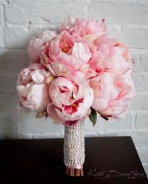 wedding photo - Blush Pink Peony Bouquet With Rhinestone Handle - Peony Wedding Bouquet