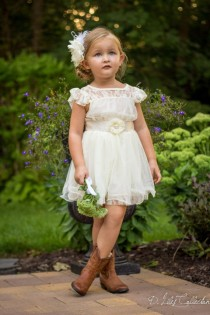 wedding photo - The Charlotte - Ivory, Lace, Chiffon Flower Girl Dress, Made For Girls, Toddlers, Ages 1T, 2T,3T,4T, 5T, 6, 7, 8, 9/10